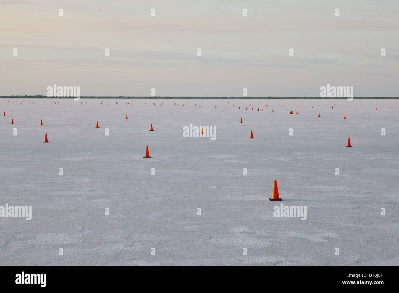 Bonneville Salt Flats Utah USA Traffic cones on race course Bonneville Speed Week - Stock Image