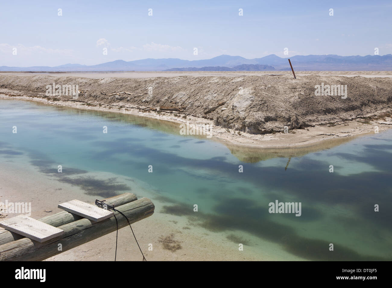 Bonneville Salt Flats Utah USA Industrial canal and water in the desert walkway Stock Photo