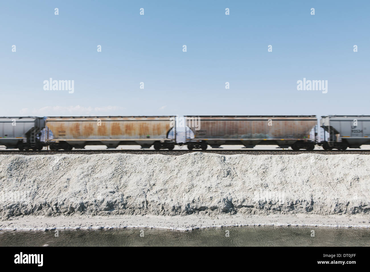 Bonneville Salt Flats Utah USA goods train in the desert on railway tracks Stock Photo