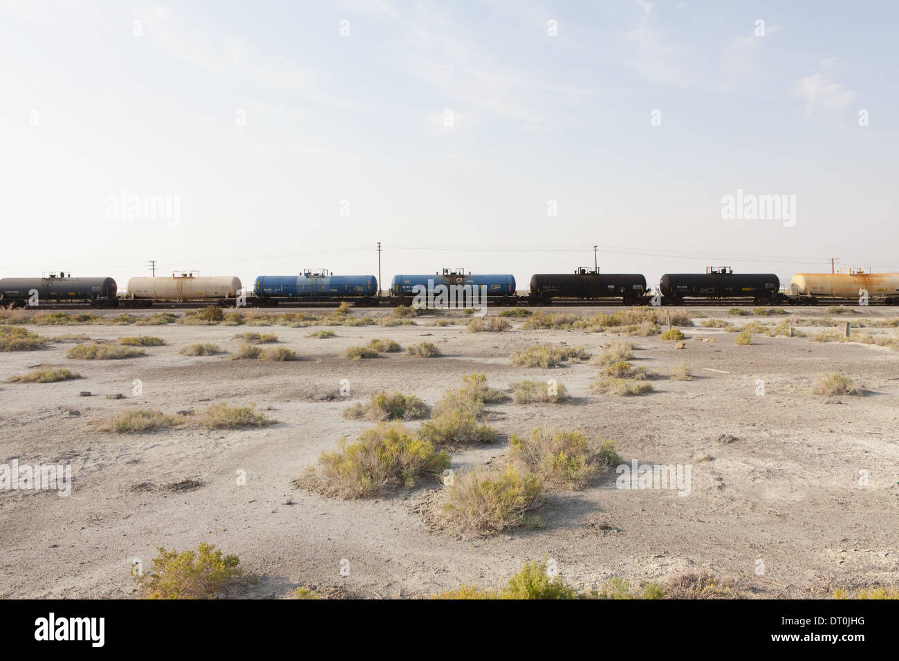 Utah USA goods train on the train track through the desert - Stock Image