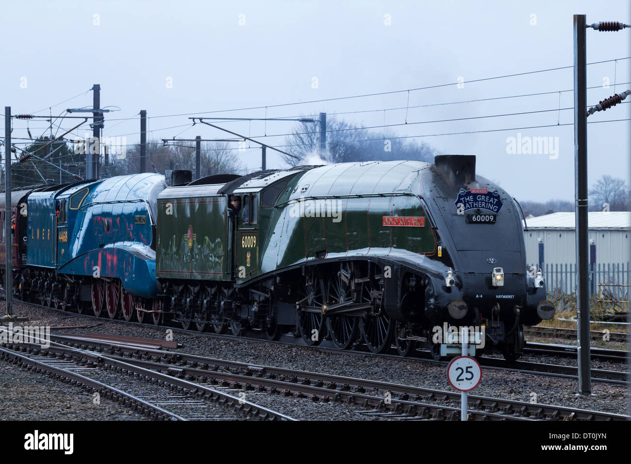 Mallard, being pulled by Union of South Africa steam locomotive. UK - Stock Image