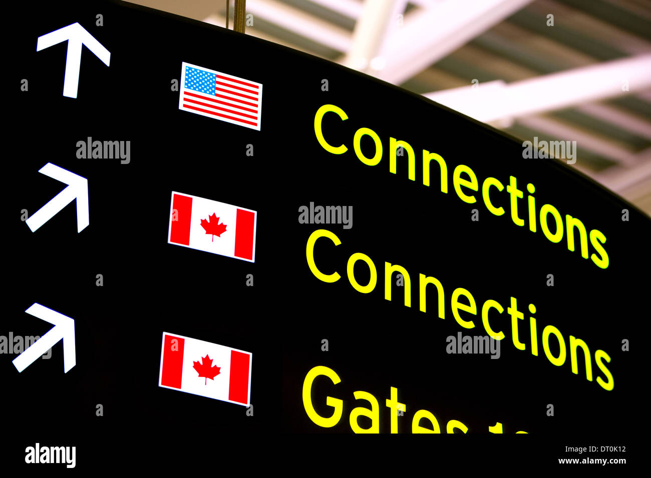 Close up of an airport's Connections sign - Stock Image