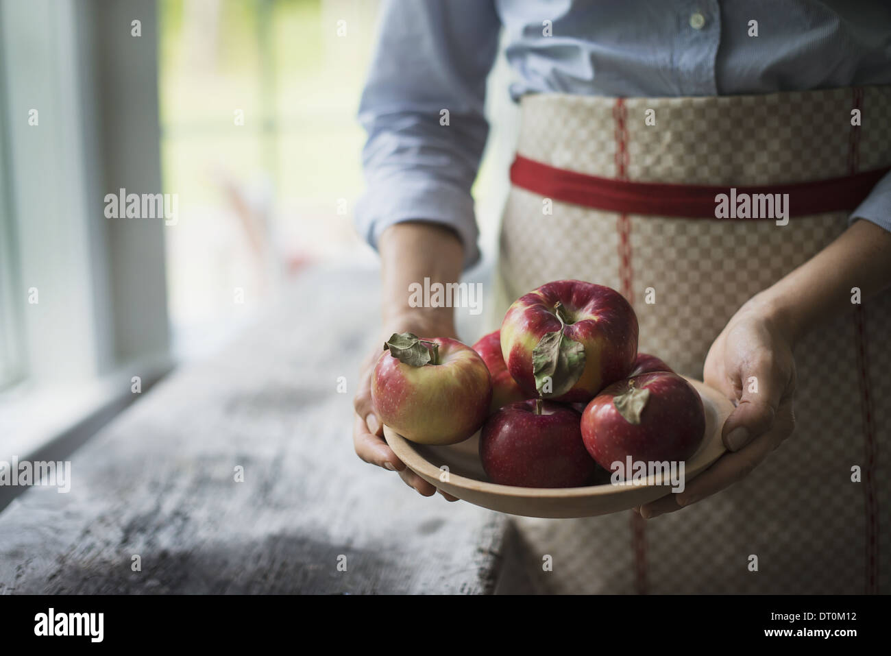 Woodstock New York USA person holding bowl of organic red skinned apples - Stock Image