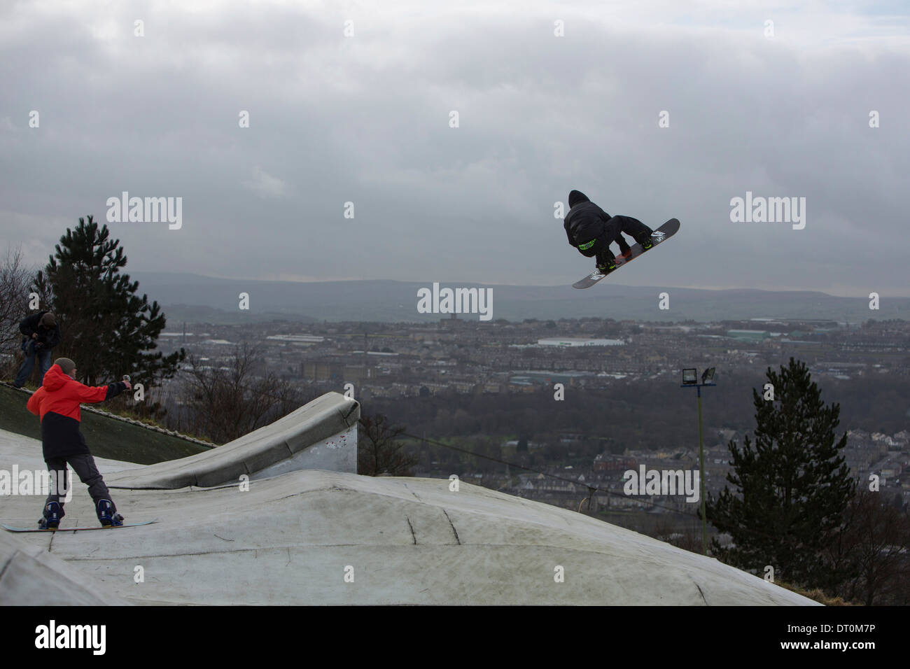 Action image of Jamie Nicholls, taken at Halifax dryslope, West Yorkshire - Stock Image