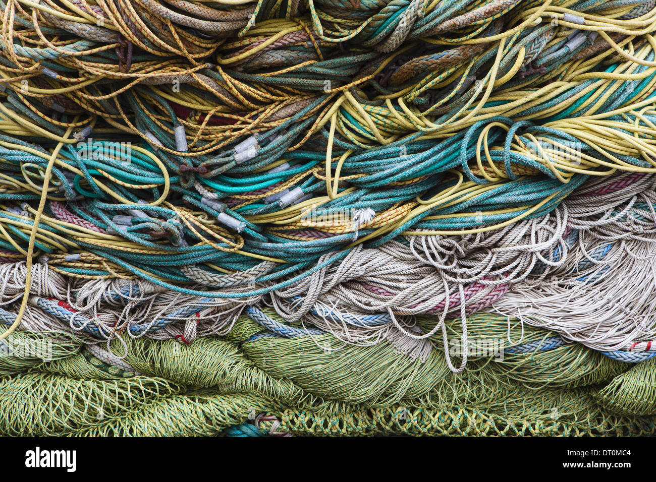 Seattle Washington USA Commercial fishing nets at Fisherman's Terminal - Stock Image
