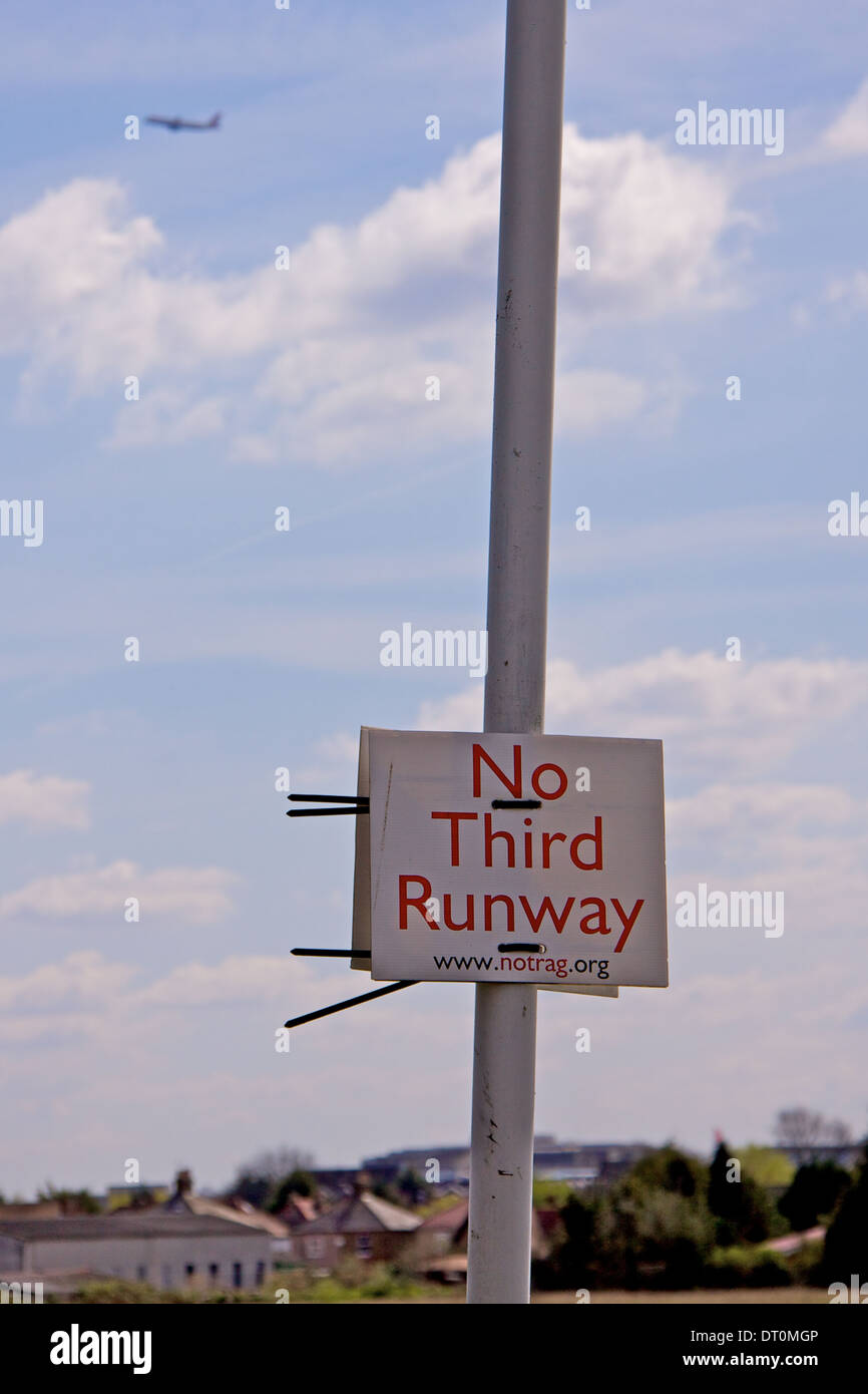 Protest against third runway on Heathrow Airport in London, UK - Stock Image