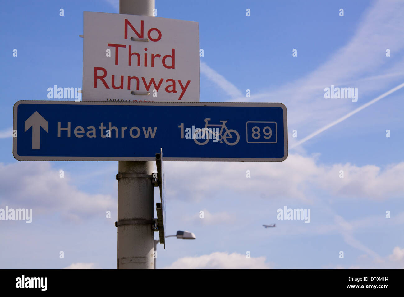Opposition against third runway on Heathrow Airport in London, UK - Stock Image