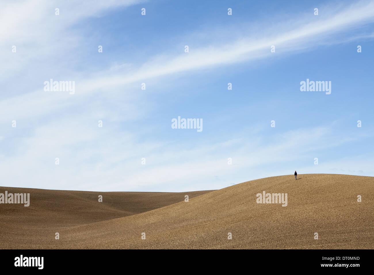 Washington USA person on ridgeploughed soil rolling downland - Stock Image