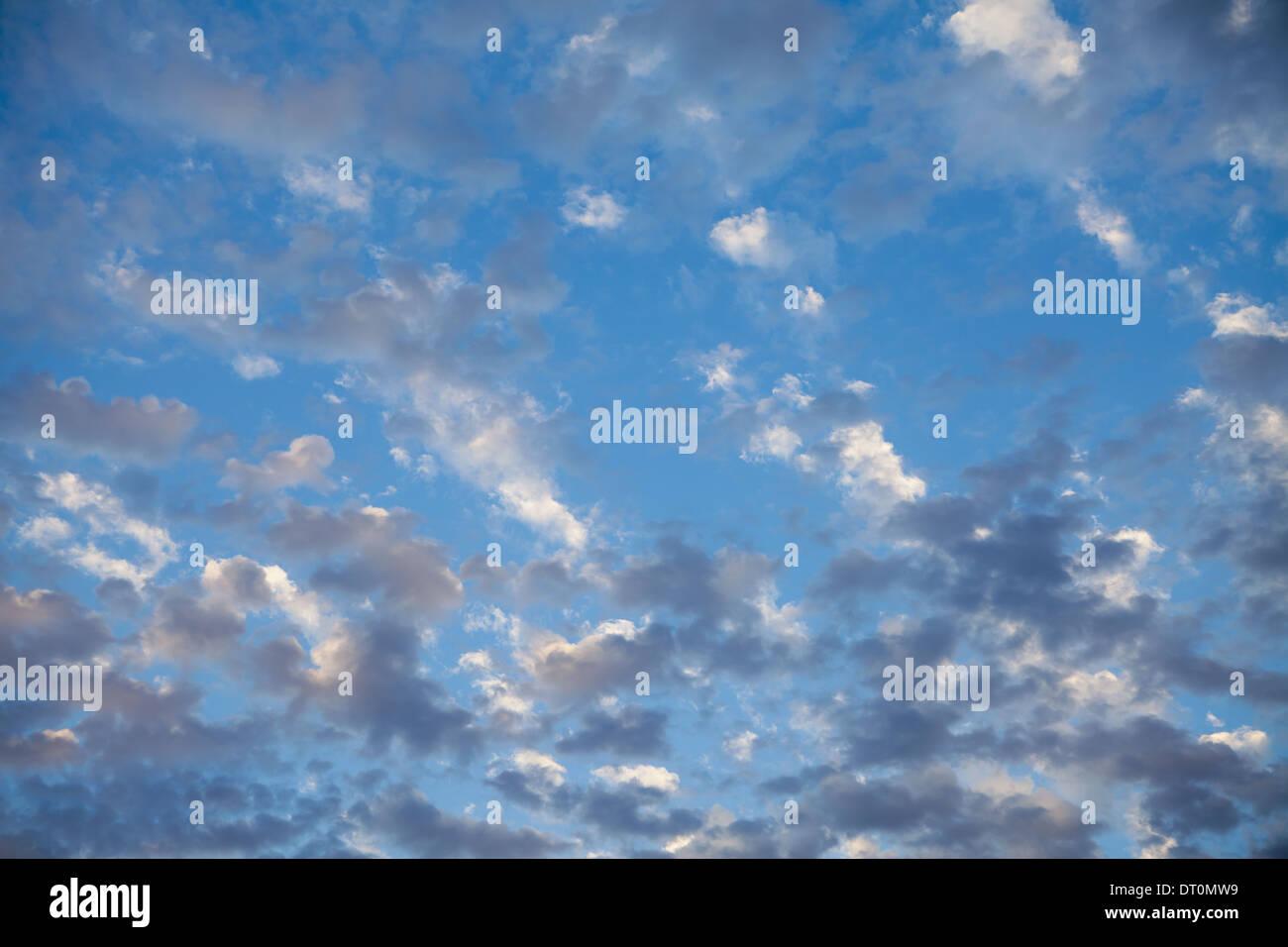Seattle Washington USA Wispy clouds in blue sky nearing dusk Seattle USA - Stock Image