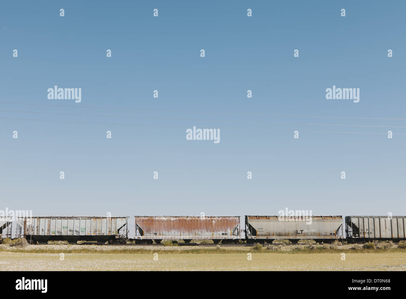 Black Rock Desert Nevada USA Wagons of train crossing the Black Rock Desert - Stock Image