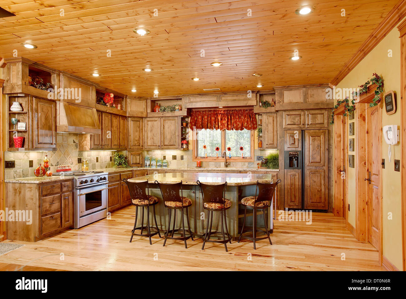 The Kitchen In A Modern Log Cabin