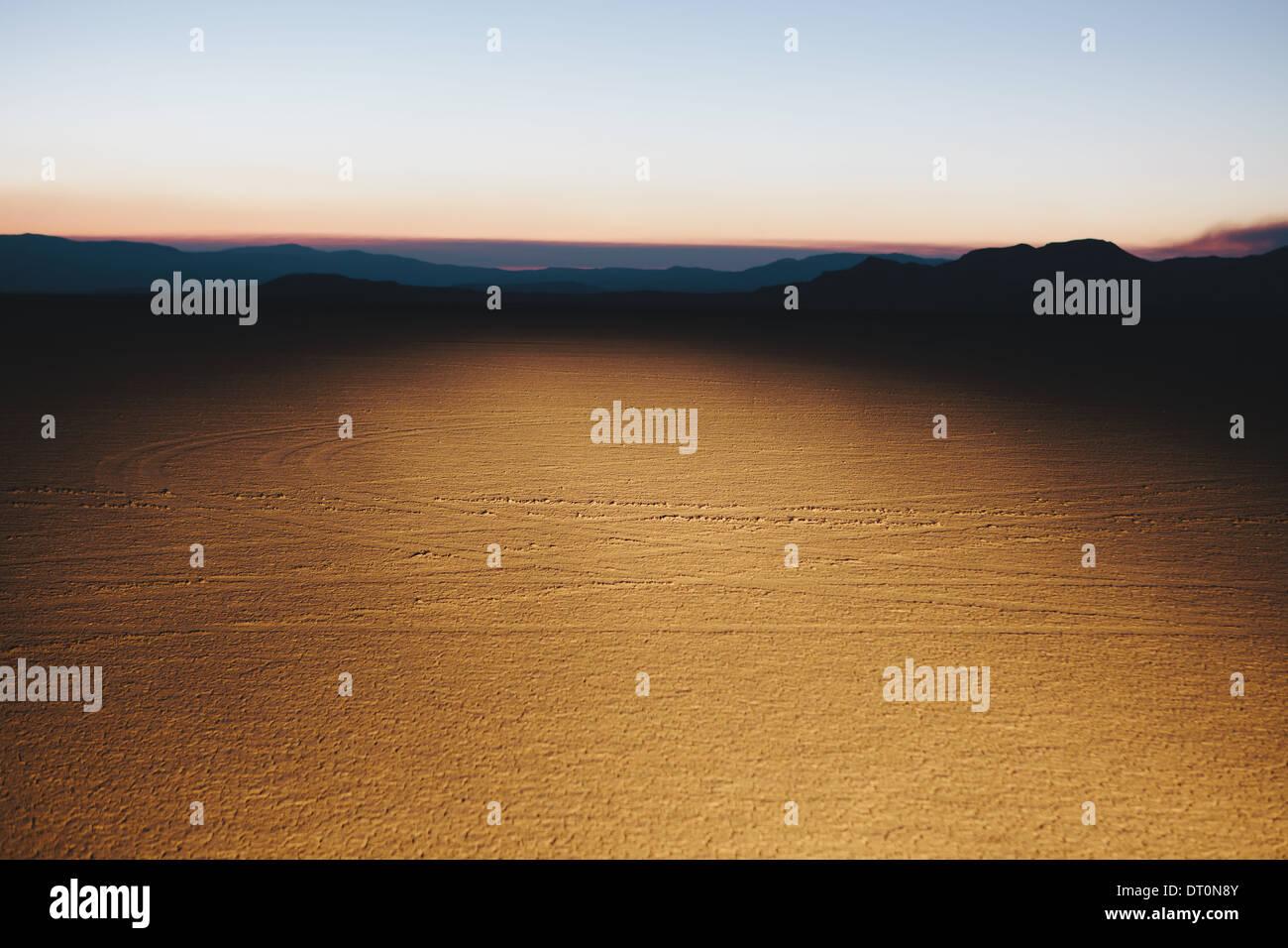 Black Rock Desert Nevada USA Illuminated desert landscape dusk Stock Photo