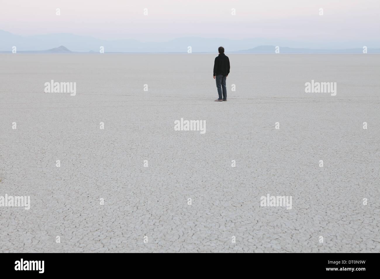 Black Rock Desert Nevada USA Man standing in vast desert landscape - Stock Image