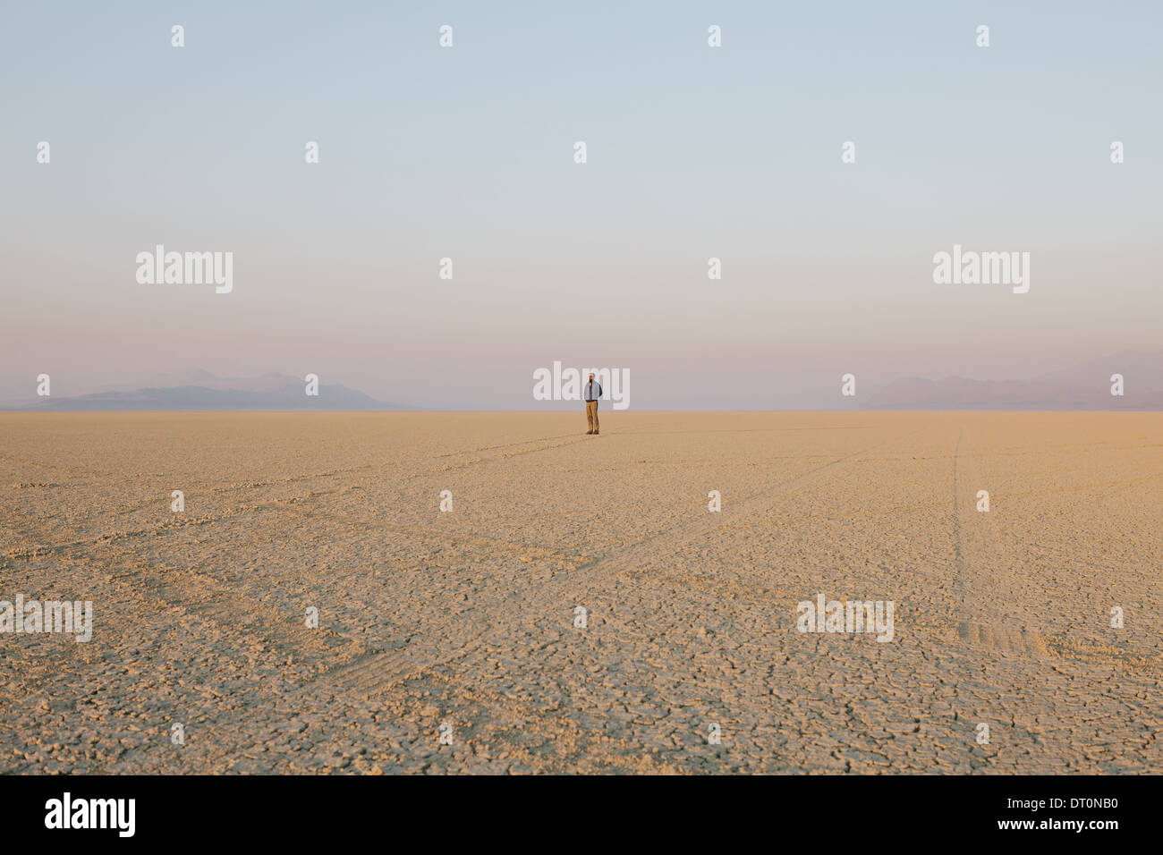 Black Rock Desert Nevada USA The figure of man in the empty desert landscape Stock Photo