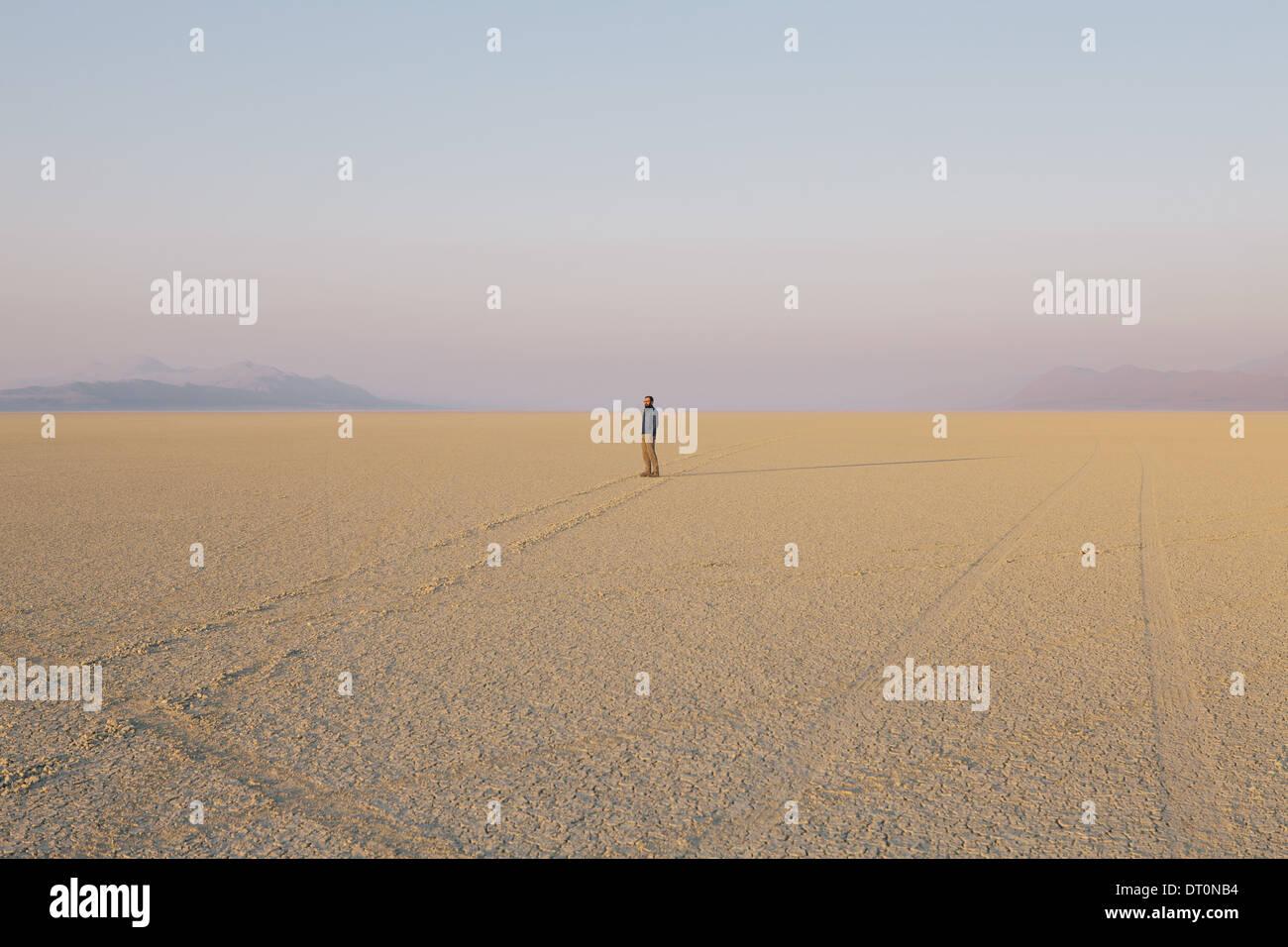Black Rock Desert Nevada USA The figure of man in the empty desert landscape Stock Photo