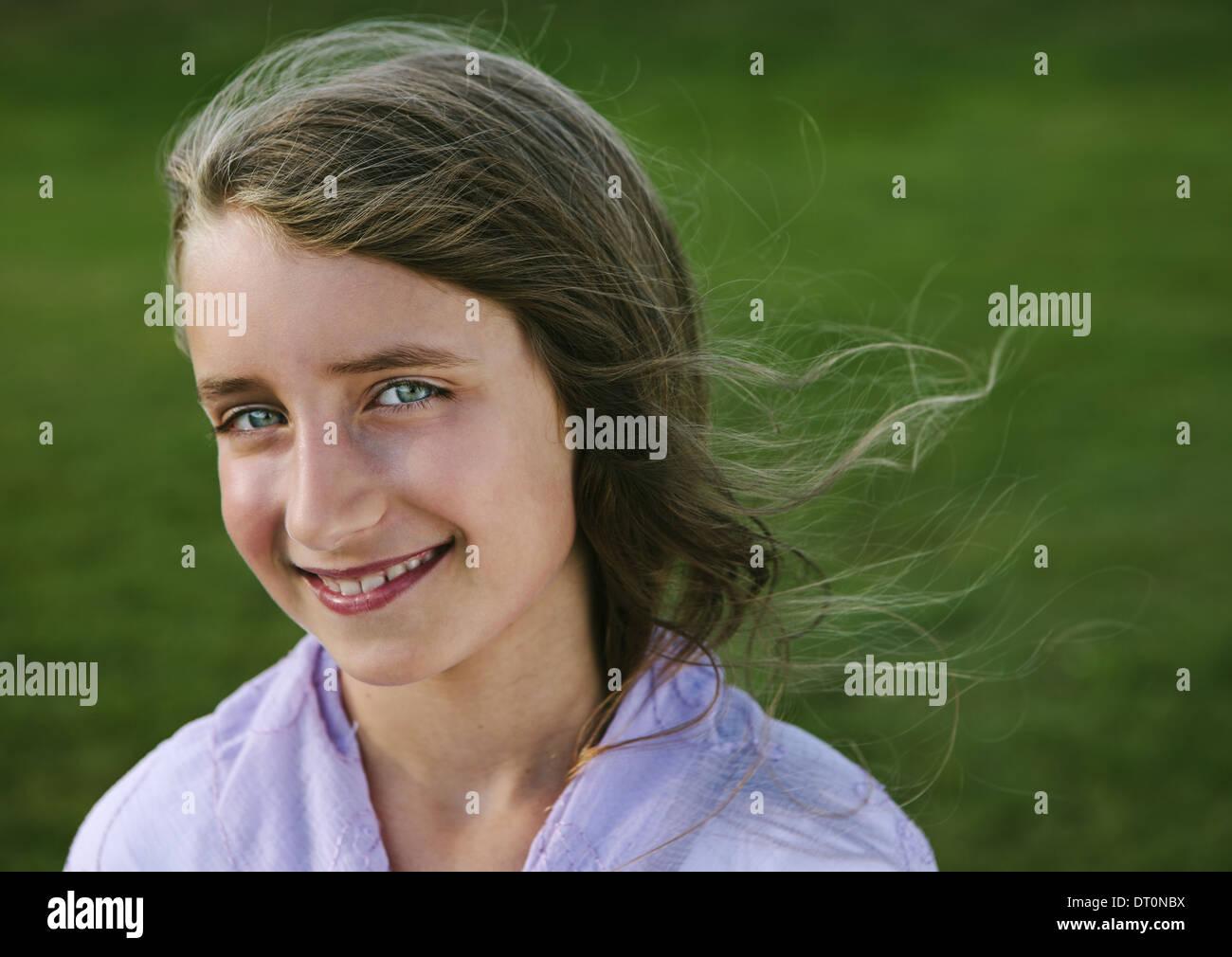 Seattle Washington USA Portrait of smiling nine year old girl - Stock Image