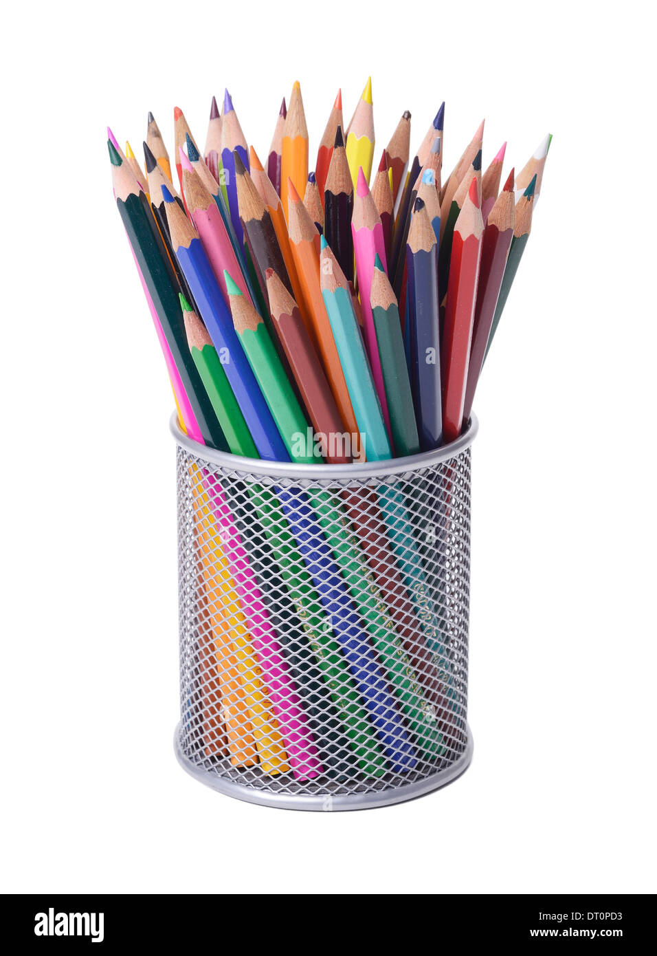 Office desk pencil pot full of coloured pencils - Stock Image