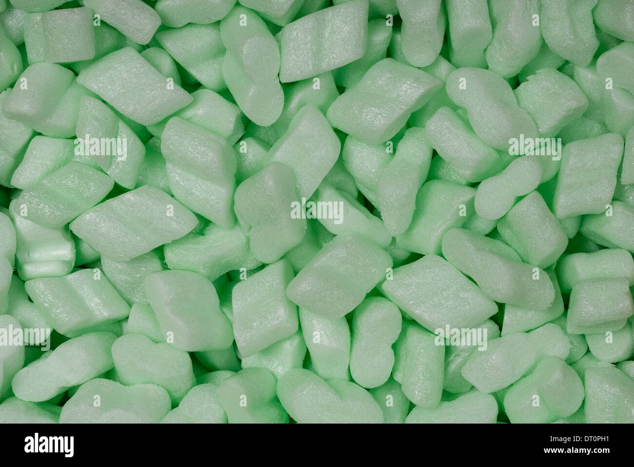 Green corn starch packaging peanuts material - Stock Image