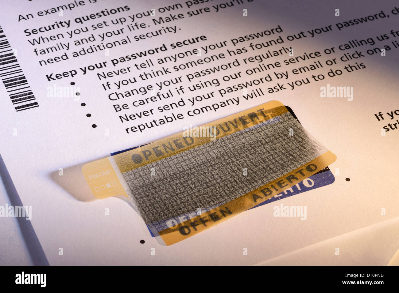 Tamper proof security label for a password on a bank letter Stock Photo