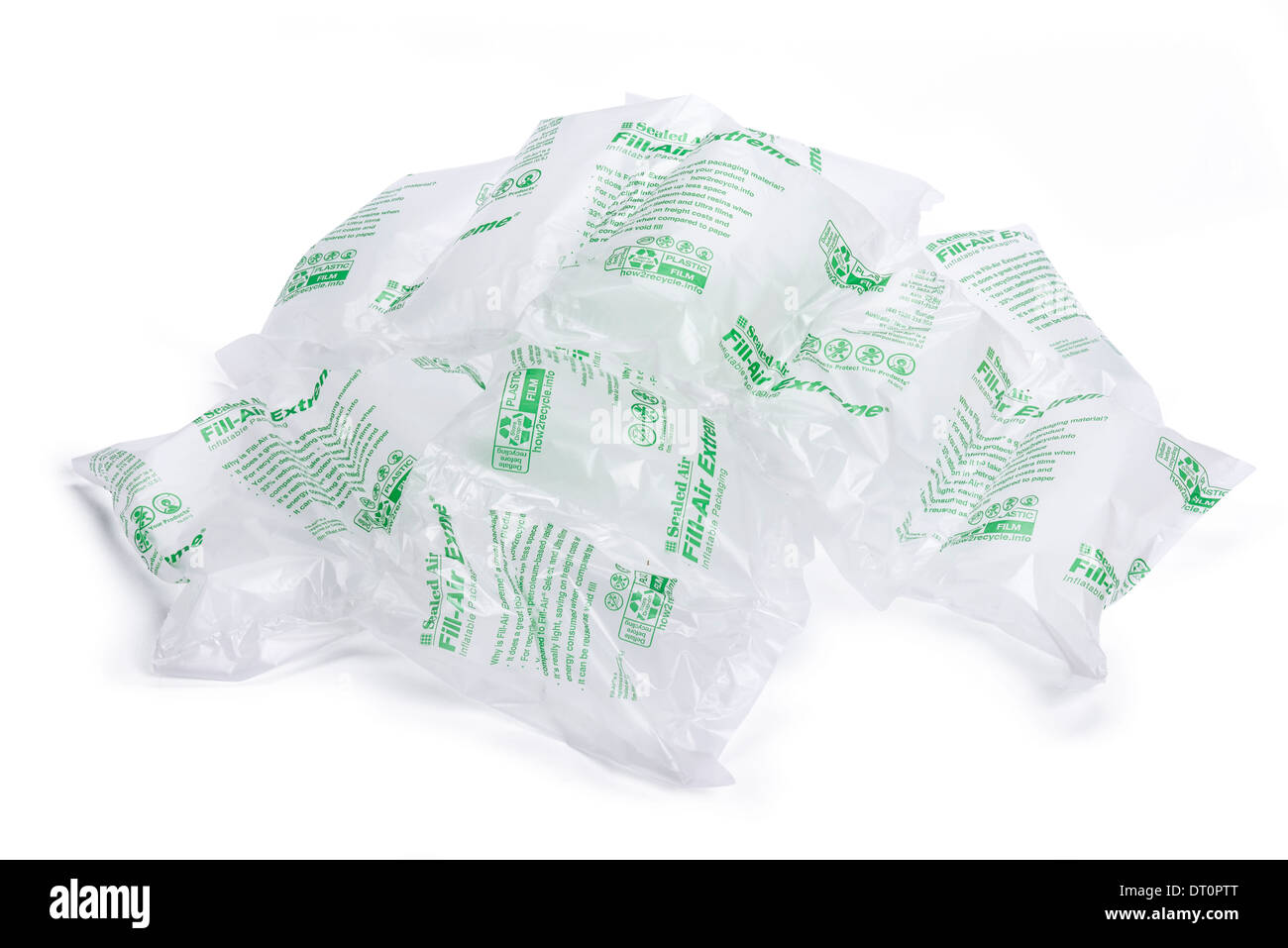 Air pouch sealed air inflatable packaging material - Stock Image