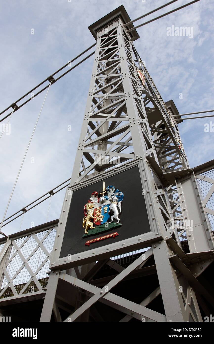 Coat of Arms on the Queens Park Bridge in Chester, England. Stock Photo