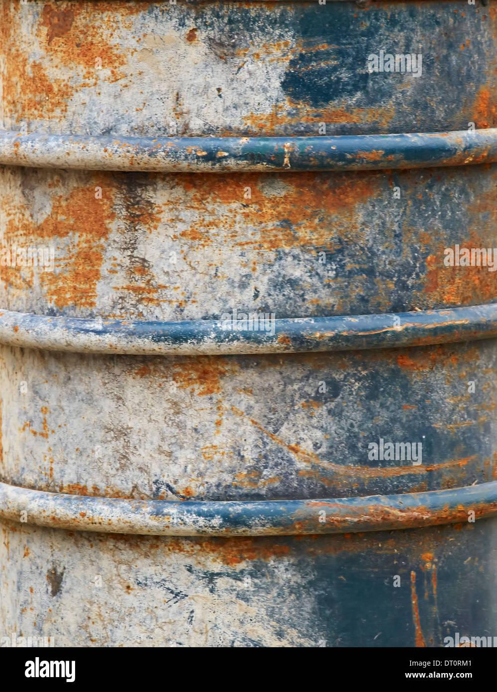 old metal garbage can - Stock Image
