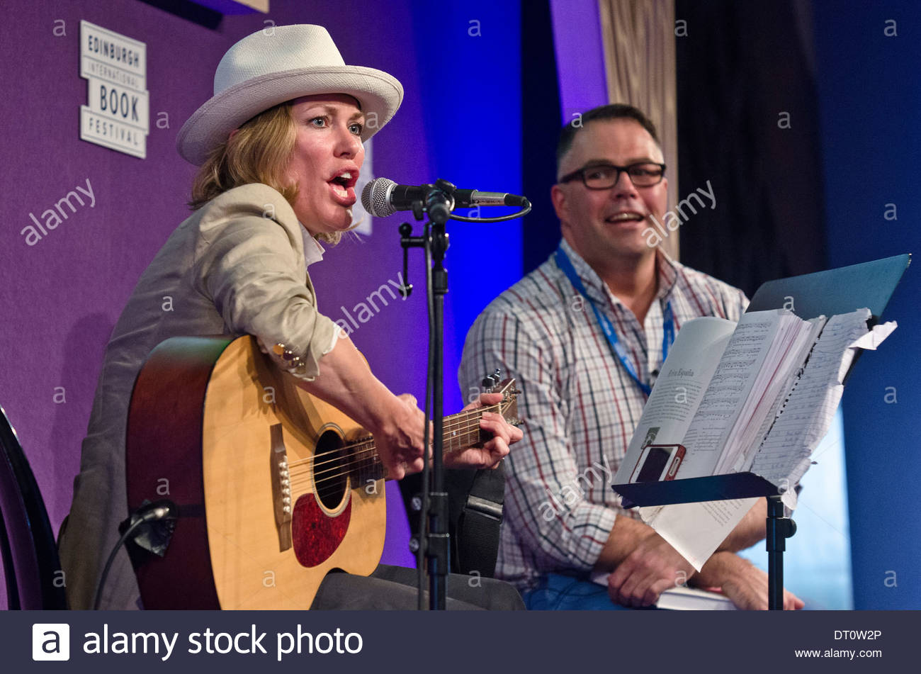 British singer, musician, and book author Cerys Matthews, ex-singer of Catatonia, at the Edinburgh International Book Festival - Stock Image