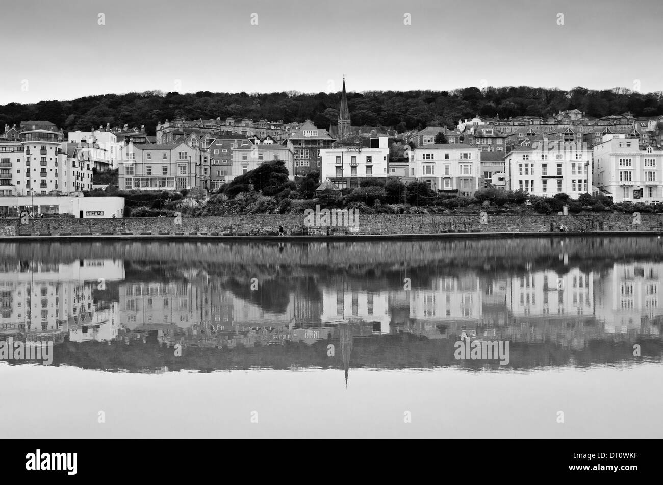 A view of Weston-super-Mare across the Marine Lake - Stock Image