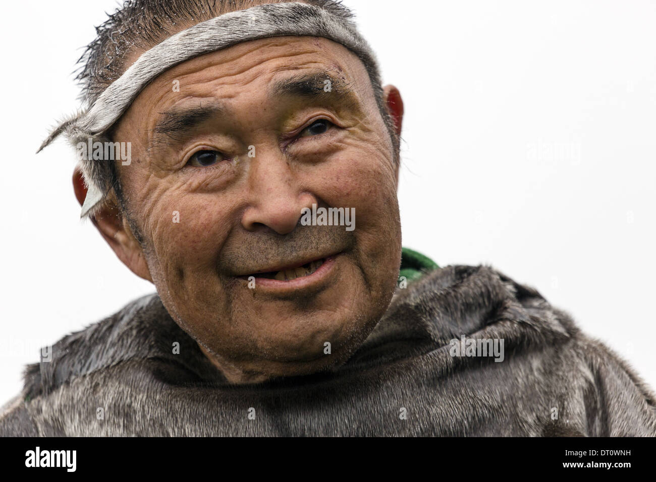 A local native in traditional sealskin clothes. Nanortalik Greenland - Stock Image