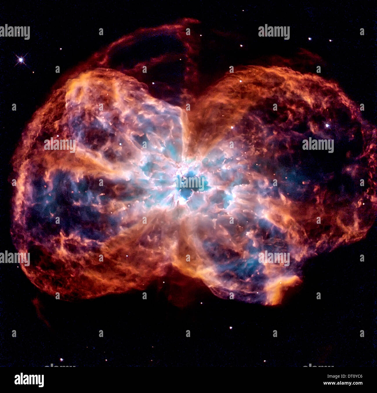 Star ending its life by casting off its outer layers of gas, which formed a cocoon around the star's remaining core. Stock Photo