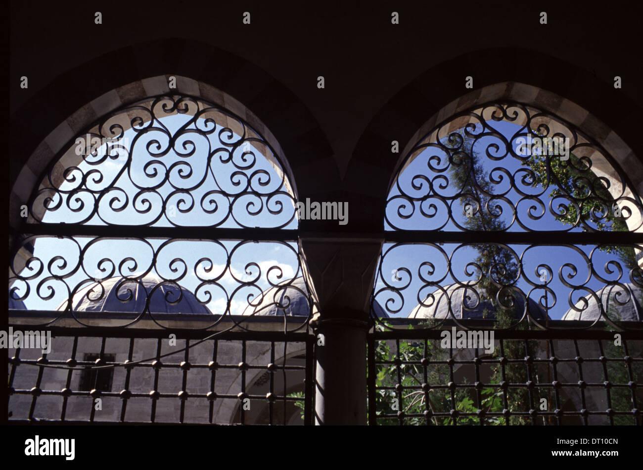Cast Iron railings of Nuruosmaniye Mosque located in the Cemberlitas neighbourhood of Fatih district Istanbul - Stock Image