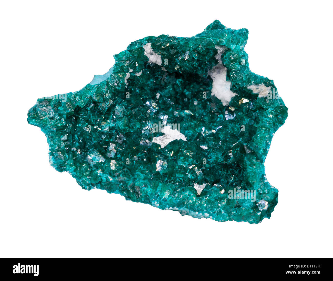 Dioptase is an intense emerald-green to bluish-green copper cyclosilicate mineral. It is transparent to translucent. - Stock Image