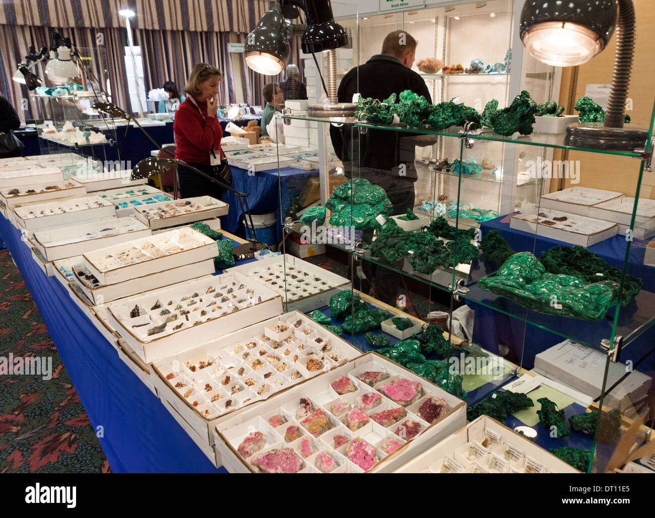 Displays of gems, minerals rocks, crystals, fossils, and meteorites at the yearly Gem and Mineral Show in Tucson, Arizona - Stock Image