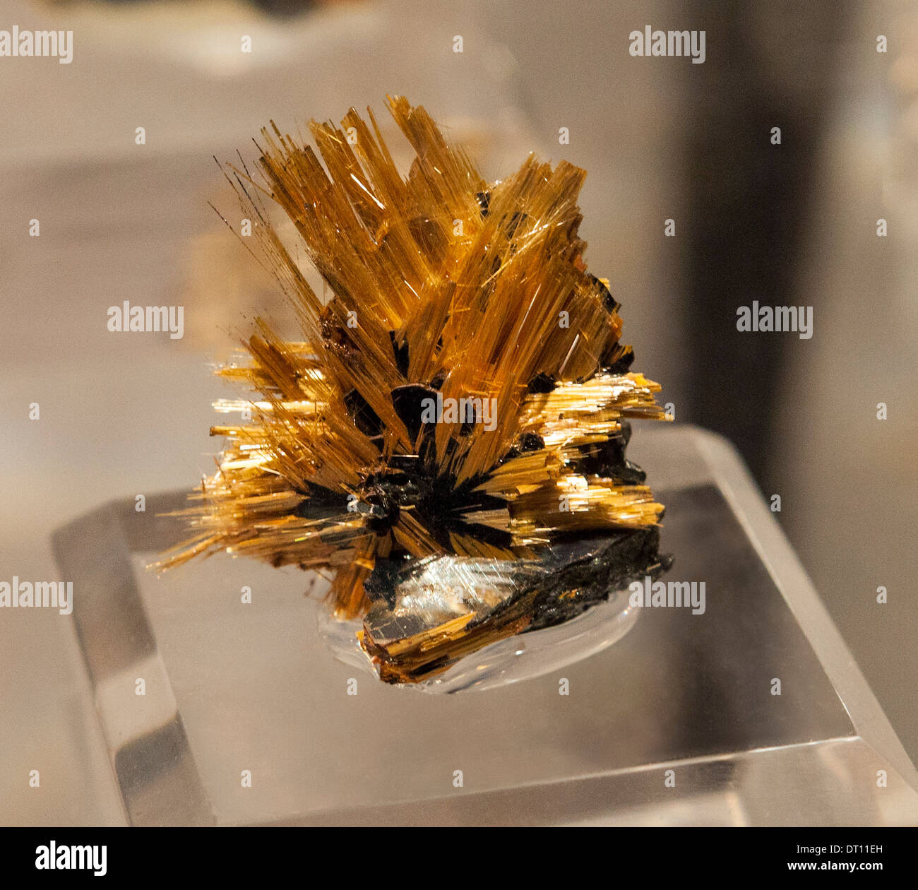 Rutile with Quartz and Hemotite from Brazil - Stock Image