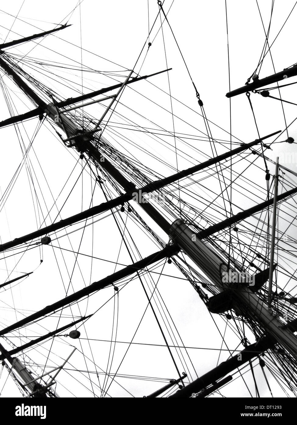 Flagpoles of the Cutty Sark famous tea clipper, Greenwich London UK - Stock Image