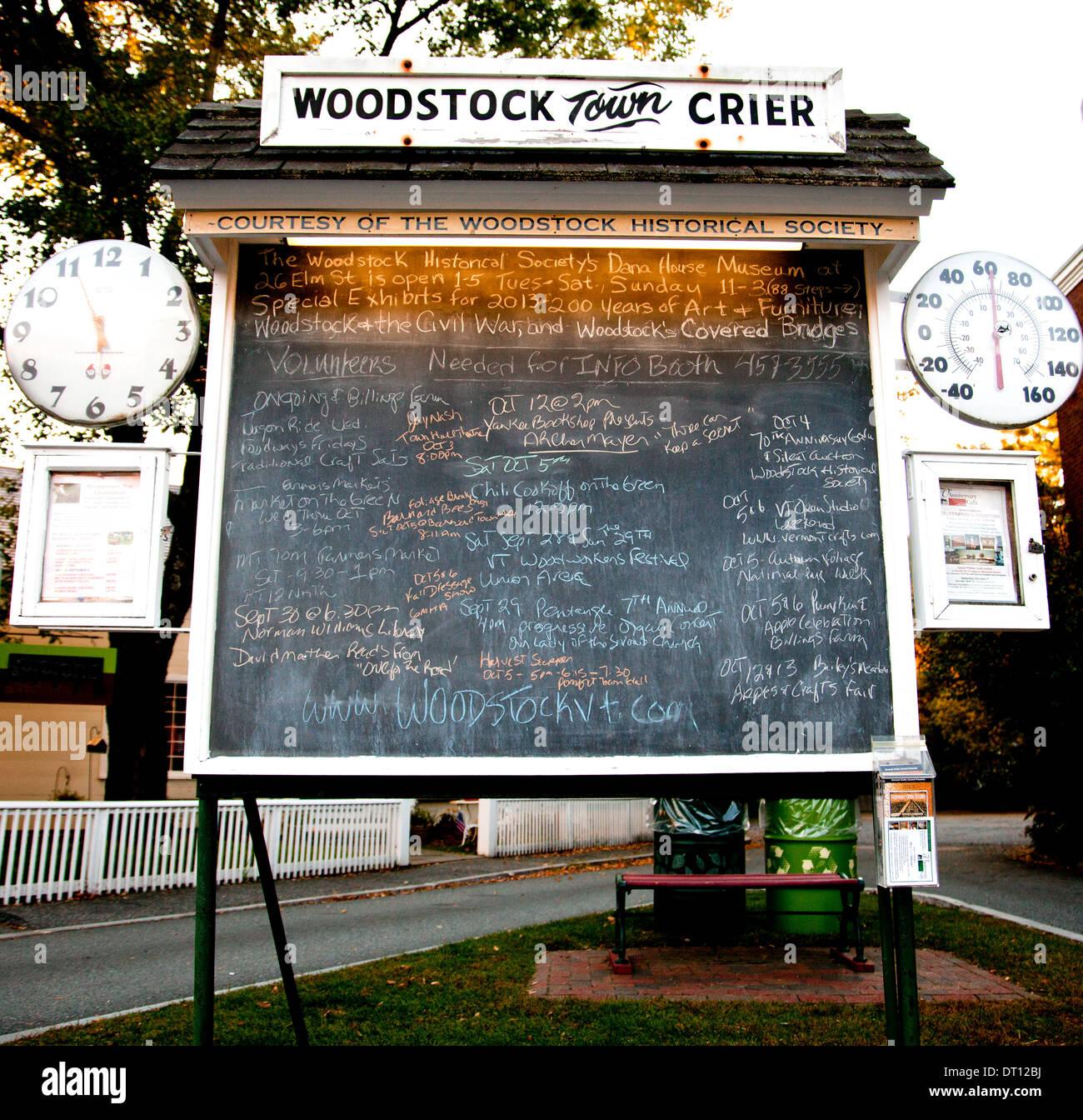 TheTown Crier is a community bulletin board in the heart of town that lists nearly everything going on in Woodstock, Vermont.. - Stock Image