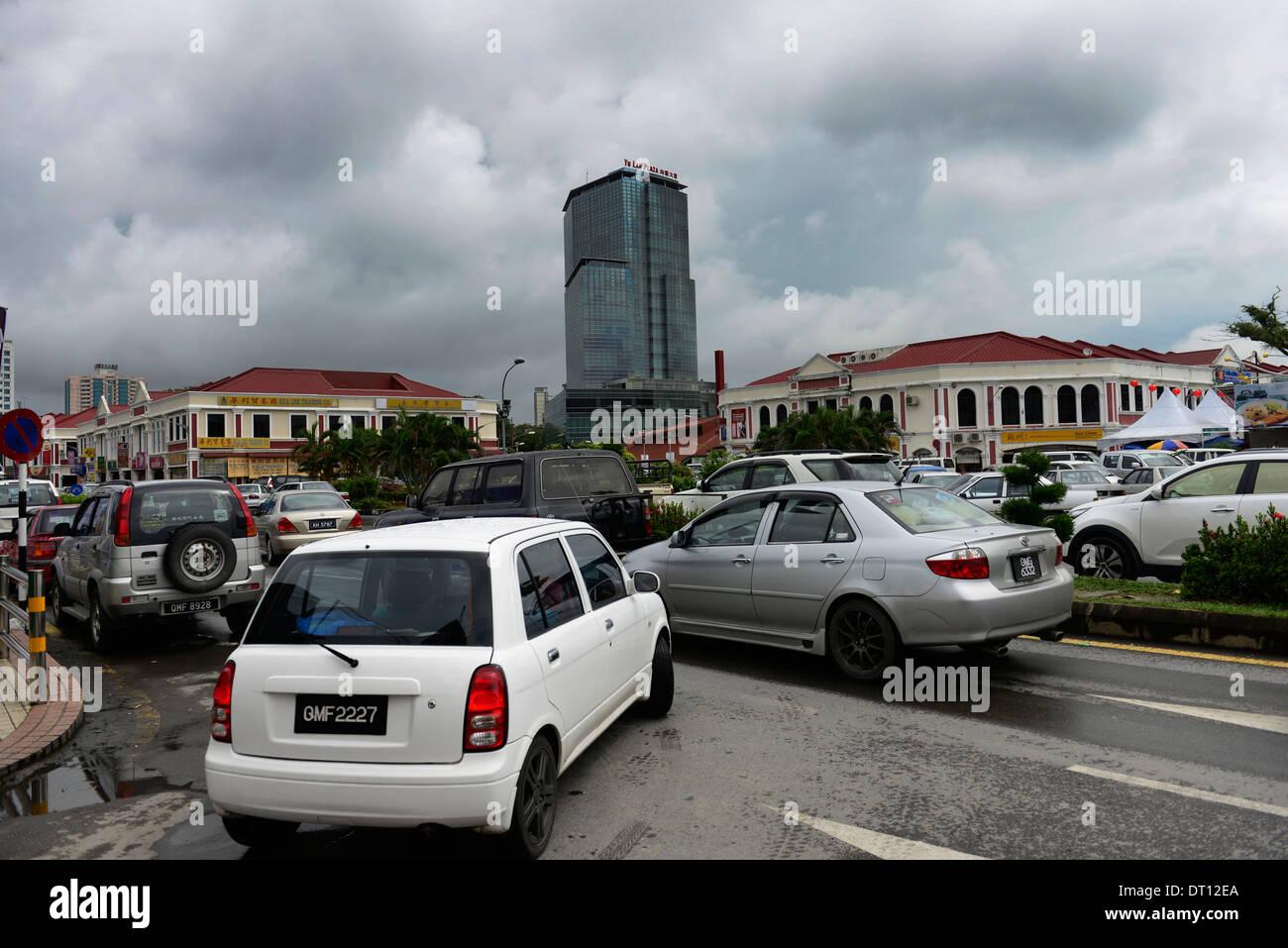 The old city center of Miri, Sarawak. - Stock Image