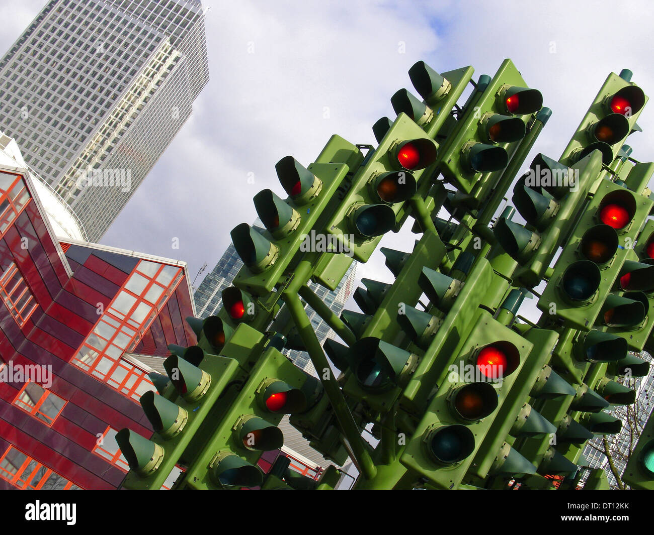 Traffic Light Tree sculpture created by the French sculptor Pierre Vivant located originally situated on a roundabout in Millwall, at the junction of Heron Quay, Marsh Wall and Westferry Road,. London. England UK - Stock Image