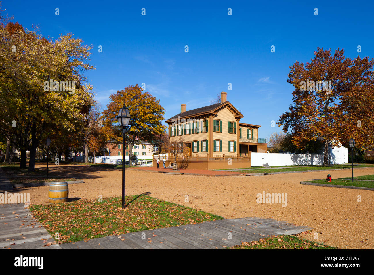 Abraham Lincoln's home in Springfield, IL, seen here, is now a National Historic District. - Stock Image