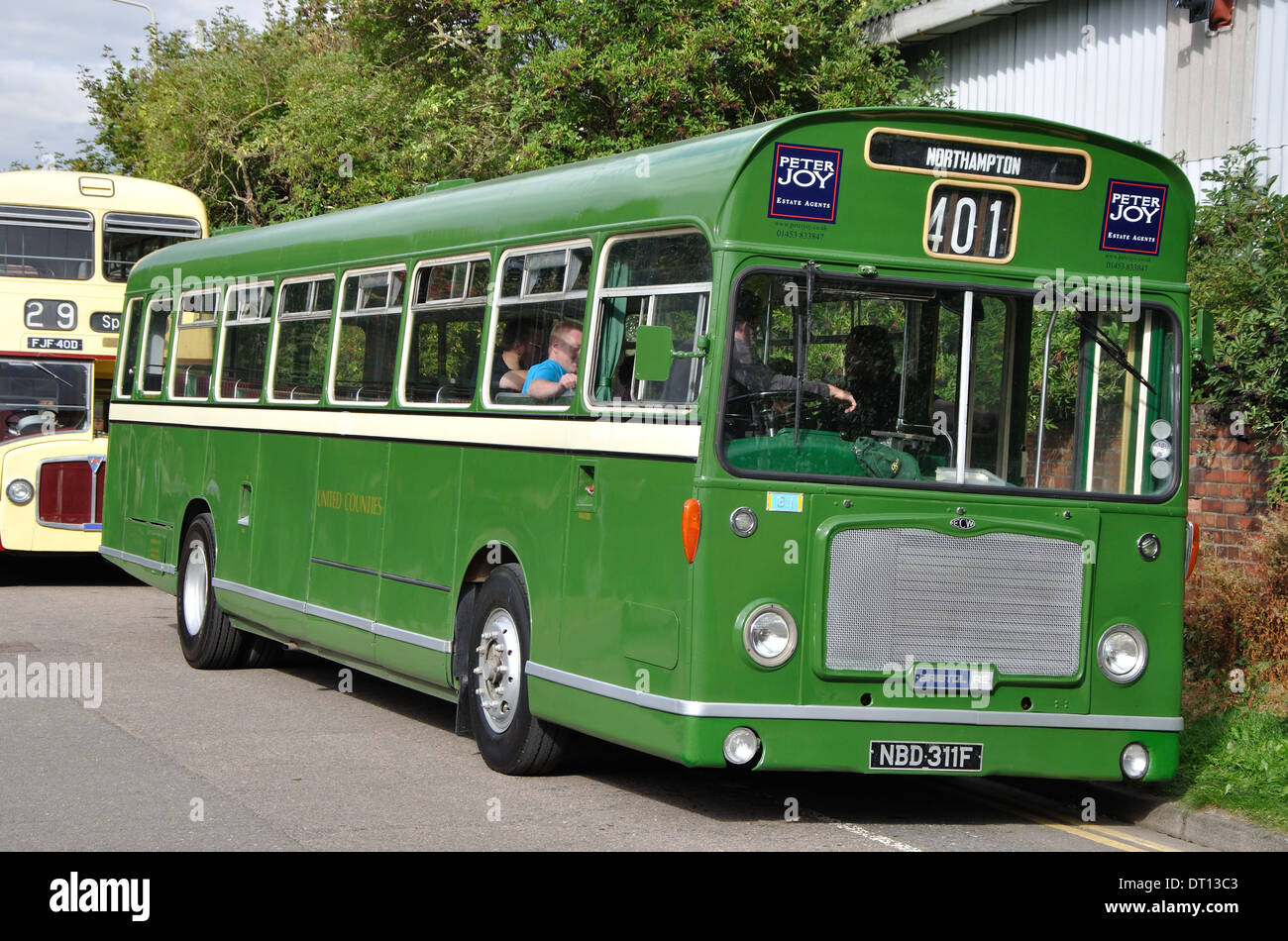 United Counties, Bristol RE vintage single decker bus at a rally in Leicester, England, UK Stock Photo