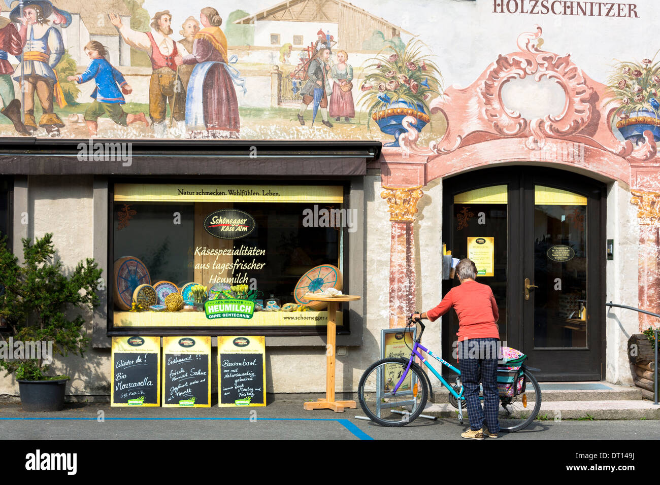 Artisan food shop selling bread and cheese in the village of Oberammergau in Bavaria, Germany - Stock Image