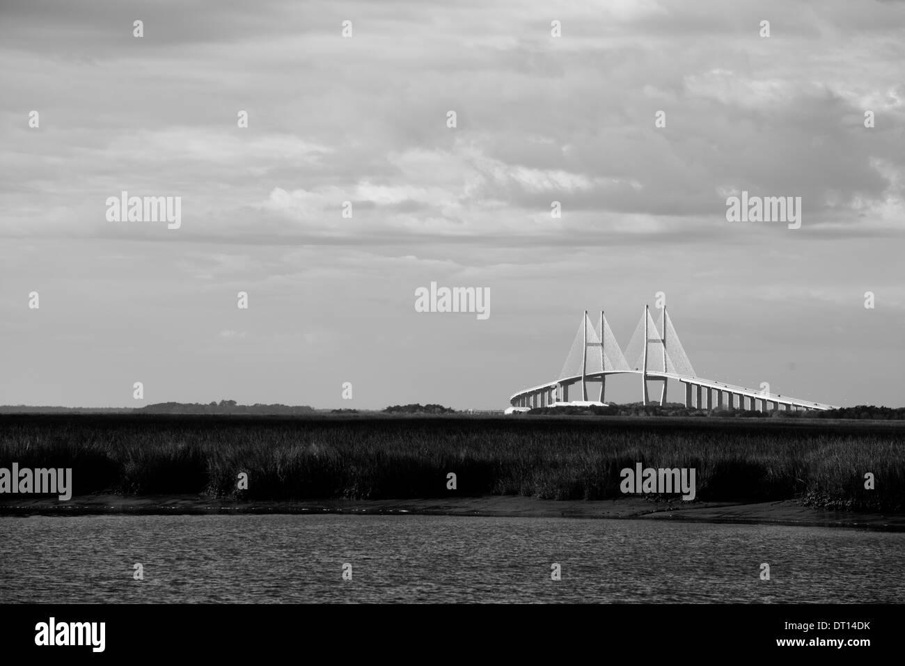 Imaage of Lanier Bridge just south of Brunswick, Georgia - Stock Image