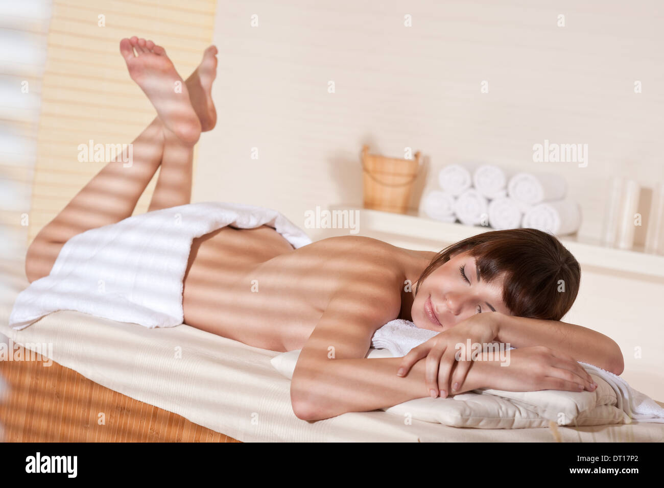 Spa - Young woman at wellness therapy Stock Photo