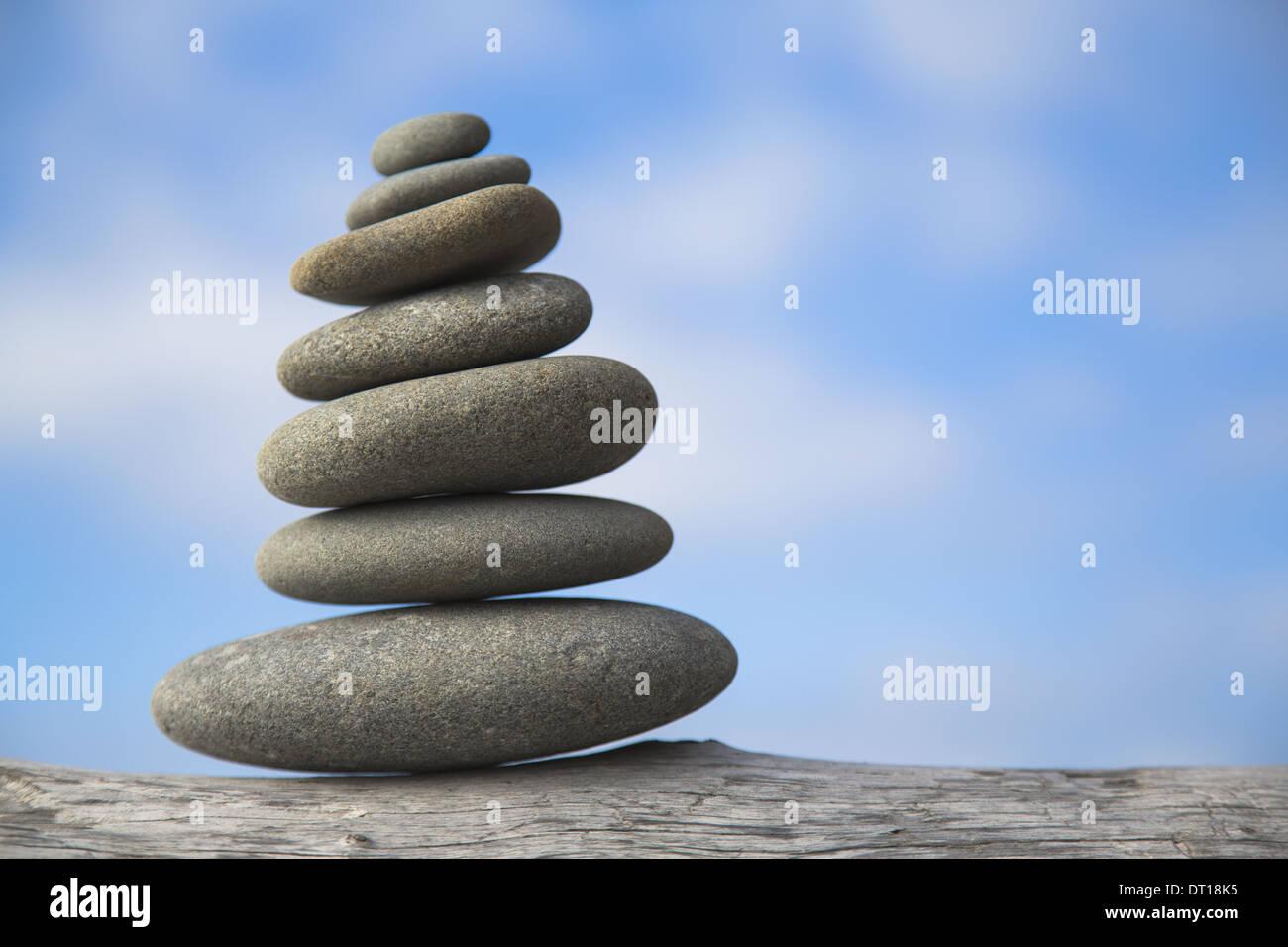 Rialto Beach Olympic National Park Washington USA. pile of balancing smooth pebbles rocks USA - Stock Image