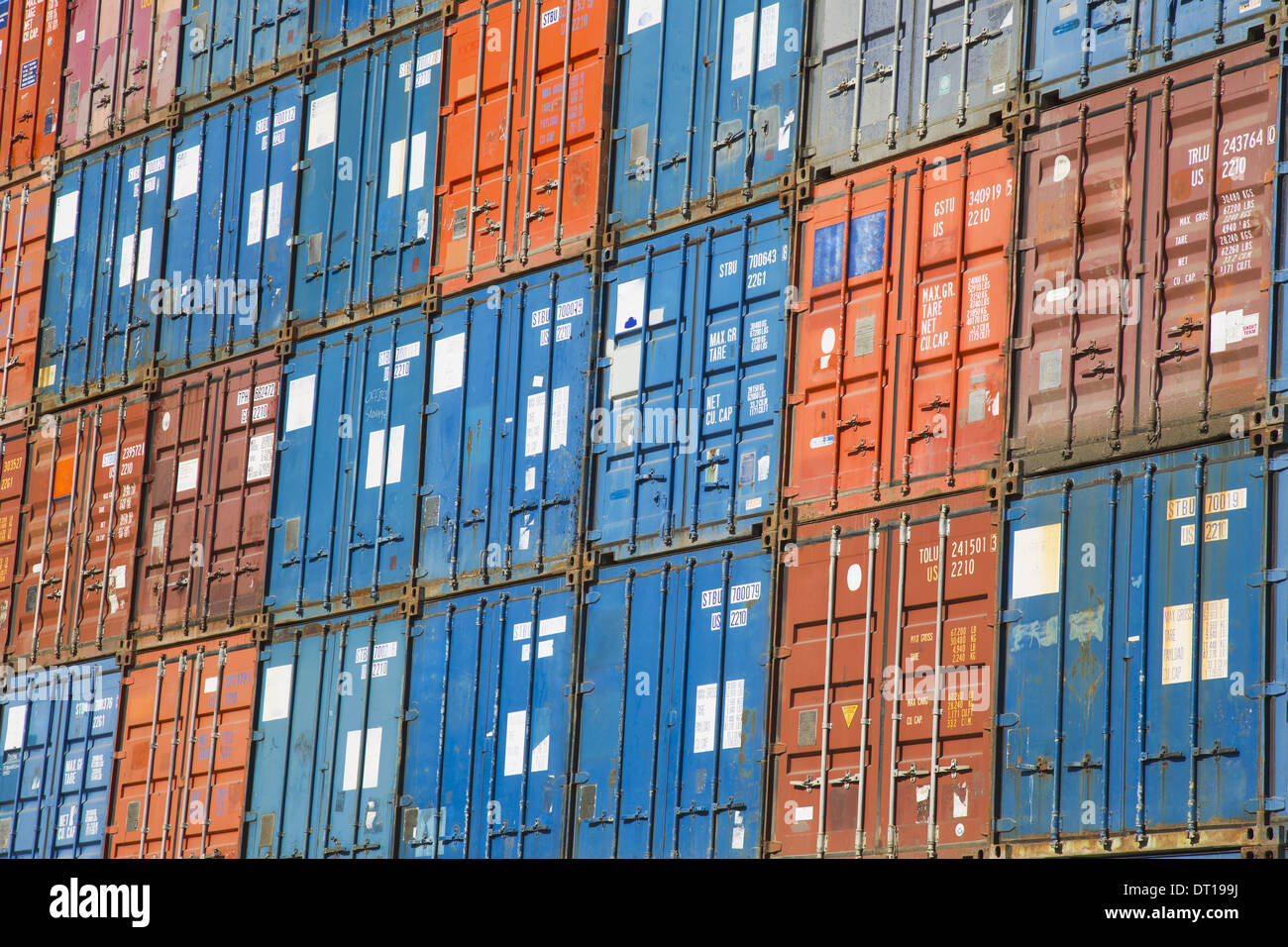 Seattle Washington USA cargo containers commercial freight containers - Stock Image