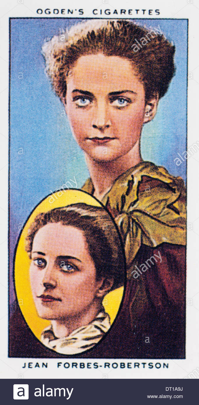Vintage Ogdens cigarette card actors, Jean Forbes-Robertson playing the character Peter Pan. EDITORIAL ONLY - Stock Image