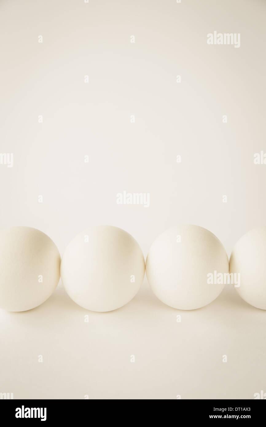 End-on view free range organic eggs white shells Stock Photo