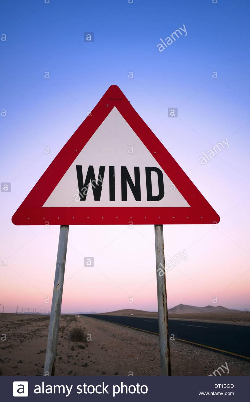 NamibRand Reserve Namibia. wind warning sign by roadside NamibRand Reserve - Stock Image
