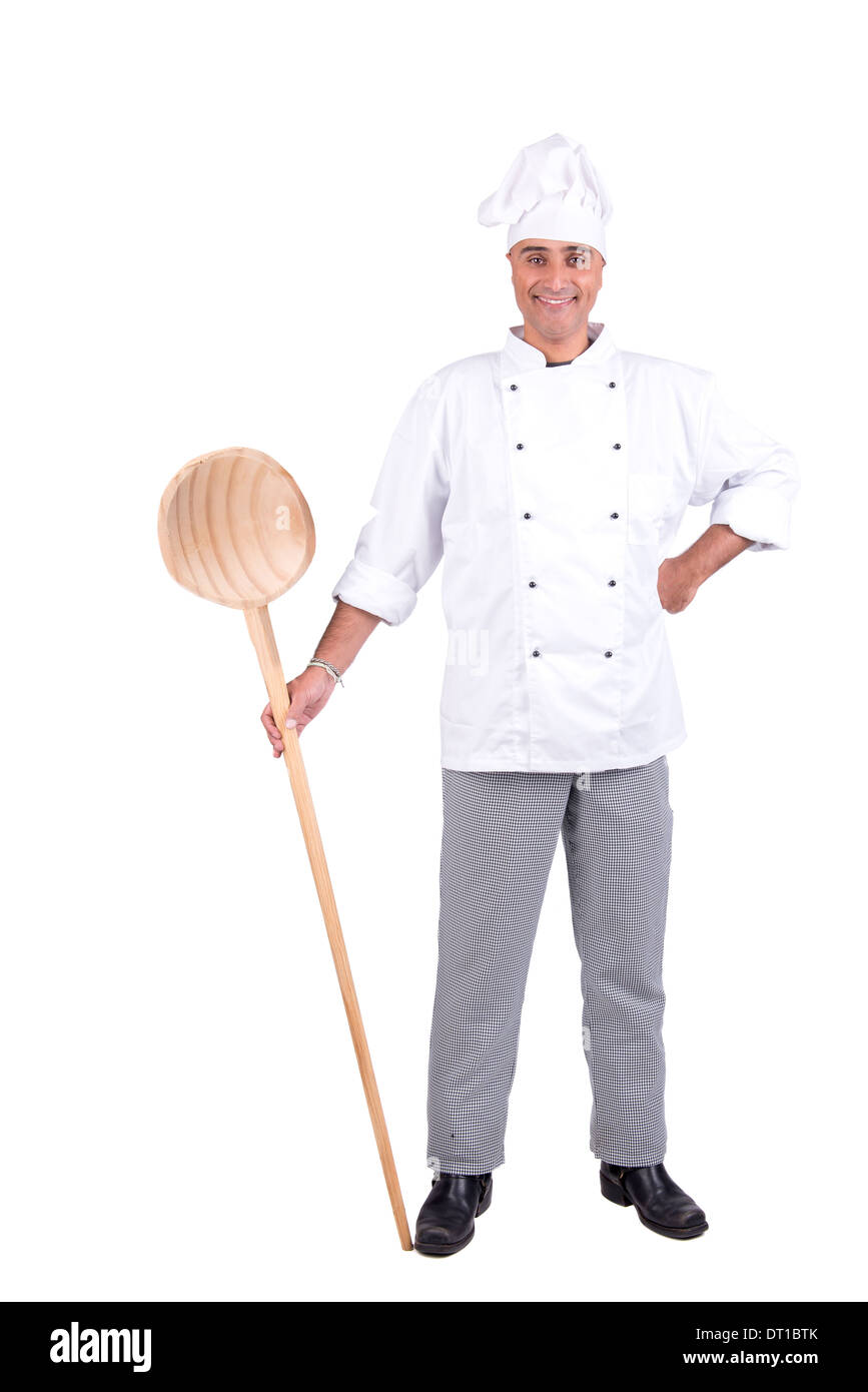 Male chef posing with big wooden spoon isolated on white background - Stock Image