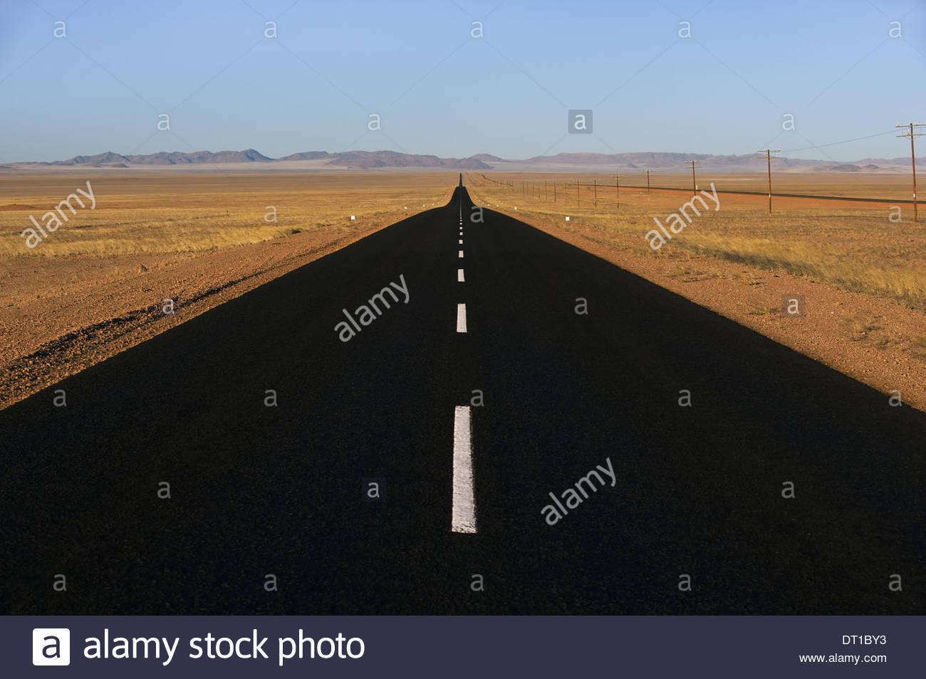 Namibia Tarred road near Luderitz Namibia - Stock Image